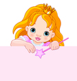 Little princess over blank sign vector image vector image