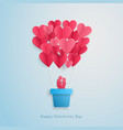 loving couple flying in a balloon in the form of a vector image vector image