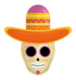 mexican skull death mask with mariachi hat vector image vector image