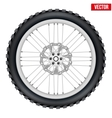 Motorbike enduro wheel with brake rotor and tire vector image vector image