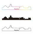 naples skyline linear style with rainbow vector image vector image