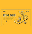 online bookmaker landing page template vector image