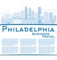 Outline Philadelphia Skyline with Blue Buildings vector image vector image