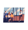 people in public transport men and women chatting vector image vector image