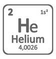 periodic table element helium icon vector image vector image