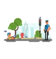 Police officer on the city street vector image vector image
