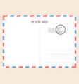 postcard template paper blank postal card vector image vector image