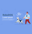 robotic dog guiding blind man cute domestic animal vector image vector image