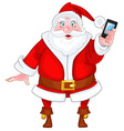 Santa Claus with a smart phone vector image vector image