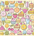 seamless background of sweet and dessert doodle vector image