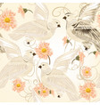 seamless pattern with flowers and doves vector image vector image