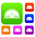 semicircular tent set color collection vector image vector image