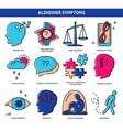 set of alzheimer s disease symptoms icons in line vector image vector image