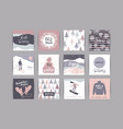 set of artistic creative winter cards vector image