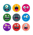 set of cartoon cute monster faces flat vector image vector image