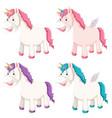 set of different unicorn vector image