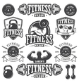 Set of monochrome fitnes emblems vector image vector image