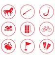 set of sport equipment icons vector image vector image