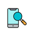 smartphone with loupe search phone flat color vector image