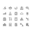 soil testing flat line icons set agriculture vector image