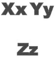 three letters x y z large and small a simple vector image