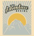 travel banner with mountains and sun vector image