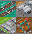 trucks isometric design concept vector image vector image