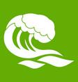 wave icon green vector image vector image