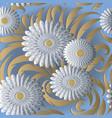 white 3d flowers seamless pattern light vector image vector image