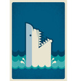 Shark poster background vector image