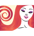 Girl with red hair and closed eyes vector image