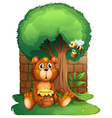 A bear and a bee under a big tree vector image vector image
