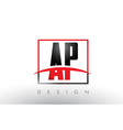 ap a p logo letters with red and black colors and vector image vector image