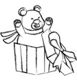 bear in giftbox cartoon vector image