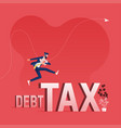 businessman jumping over debt and tax vector image vector image