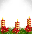 candles with pine and poinsettia on grayscale vector image vector image