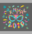 carnival mask and bright letters vector image vector image