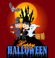 cartoon children and ghost with big moon backgroun vector image vector image