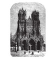 cathedral of rheims vintage vector image vector image