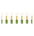 champagne bottle seamless border hand vector image