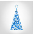 christmas tree from blue butterfly with star vector image vector image