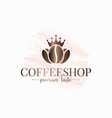 coffee beans watercolor logo on white background vector image