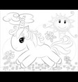 coloring pages little pony and rainbow vector image