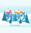 cute postcard with merry christmas 2022 lettering vector image