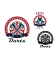 Darts emblems with arrows and dartboard vector image vector image