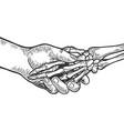 death skeleton handshake engraving vector image vector image