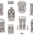 drawing retro doors pattern vector image vector image