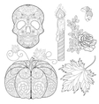 entangle stylized skull candle rose oak acorn vector image
