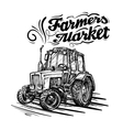 Farm tractor hand drawn isolated on a white