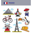 france travel tourism symbols and famous french vector image vector image